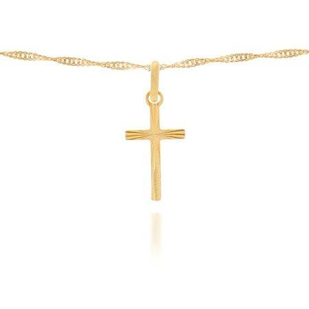 Złoty krzyżyk pr. 585 Krzyżyk płaski smukły promienie ZK020