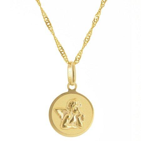 Złoty medalik pr. 585 Aniołek kółko  ZM107