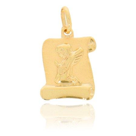 Złoty medalik pr. 585 Aniołek papirus błyszczący ZM104