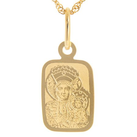 Złoty medalik pr. 585 M.B. Częstochowska mały prostokąt ZM042
