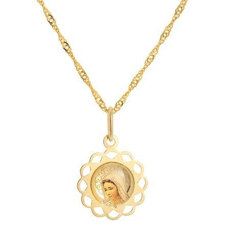 Złoty medalik pr. 585 M.B. z dzieciątkiem kwiatek ażur  ZM062
