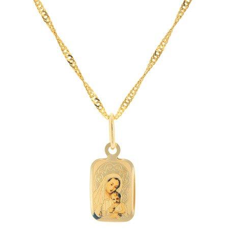 Złoty medalik pr. 585 M.B. z dzieciątkiem prostokąt  ZM064