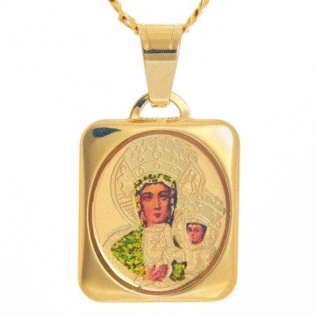 Złoty medalik pr. 585 Matka Boska Częstochowska kwadrat kolor  ZM080