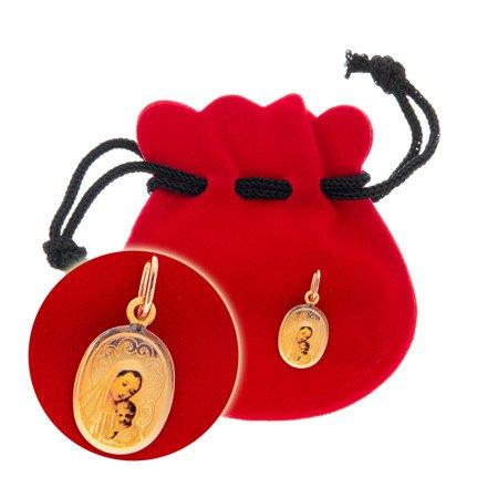 Złoty medalik pr. 585 Matka Boska z dzieciątkiem owal kolor  ZM076