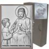 Obrazek Srebrny Pamiątka I Komunii dla chłopca prostokąt z podpisem DS45O