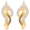 Złote kolczyki pr. 585 listek cyrkonia  ZA078